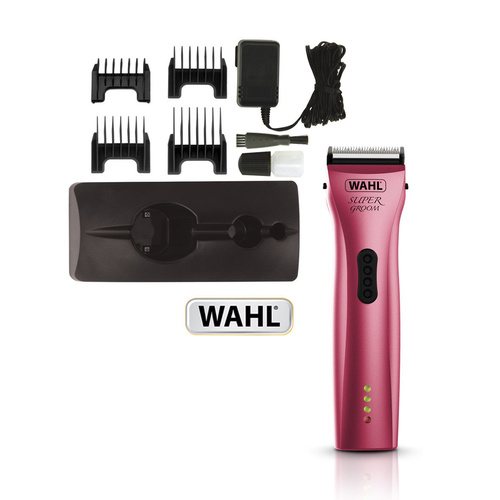 Wahl Super Groom Professional Animal Clipper with 5 in 1 Adjustable Blade - Radiant Pink