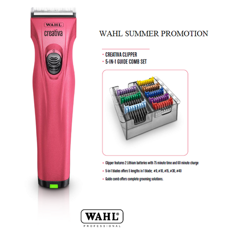 WAHL Creativa Cordless Clipper with 5 in 1 Blade with BONUS 5-in-1 Comb Set