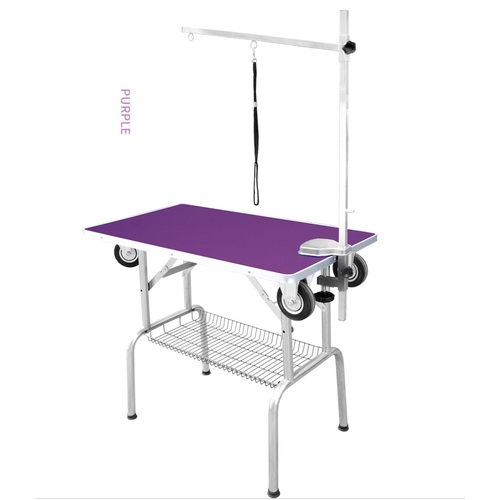 Grooming Table Portable with Wheels - Purple