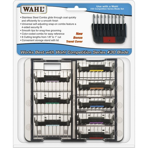 SET OF 8 Wahl Stainless Steel Clipper Attachment Combs